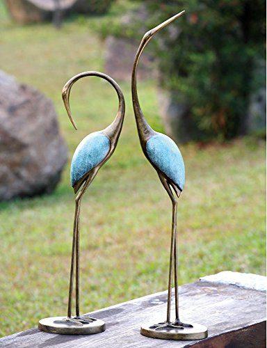 Ebros Outdoor Zen Garden Aluminum Metal Pair of Lover Preening Cranes