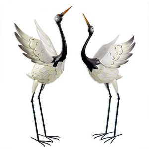 Bits and Pieces -Red Crowned Cranes Metal Garden Sculpture