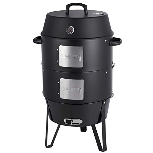 SUNLIFER 19.5 Inch Vertical Charcoal Smoker, BBQ Grill