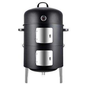 Realcook Vertical 17 Inch Steel Charcoal Smoker, Heavy Duty Round BBQ Grill
