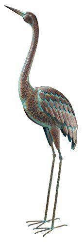 Vintage Standing Crane Coastal Metal Bird Statue Garden Yard