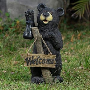 "19.5"" Bear Garden Statue with Welcome Sign and Solar Light"
