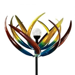 The Original Solar Multi-Color Tulip Wind Spinner-Solar Powered Glass Ball