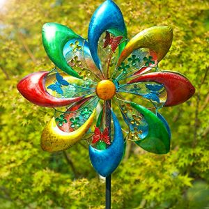 Sowsun Wind Spinner Outdoor, Colorful Flower 8-Blade Metal