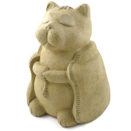 Modern Artisans Meditating Cat - Cast Stone Garden Sculpture