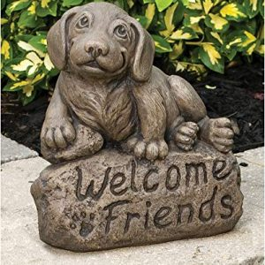 Massarelli's Beagle with 'Welcome Friends' Sign Solid Cast Stone Garden Statue