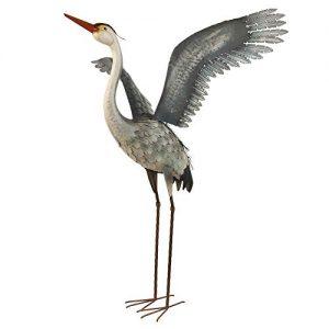 Kircust Metal Garden Statue and Sculpture Flying Heron Decoy
