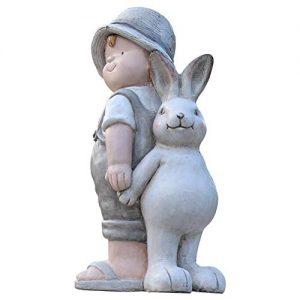 Garden Bunny Statue, Garden Sculpture Boy Elf Creative