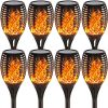 8PCs Solar Lights Outdoor Waterproof Dancing Flickering Flames Torches Lights
