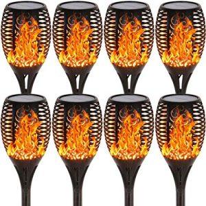 8PCs Solar Lights Outdoor Waterproof Dancing Flickering Flames Torches Lights