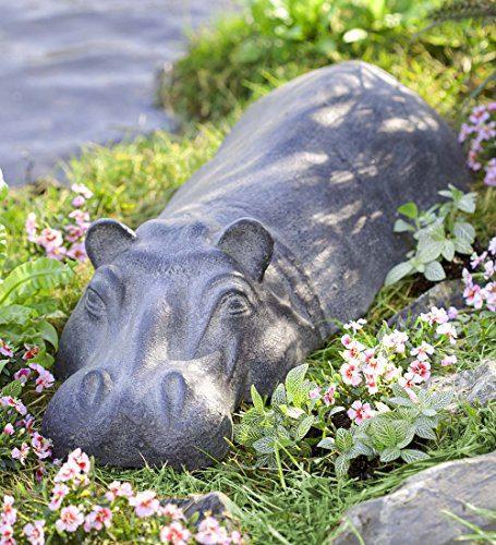 Wind & Weather Swimming Hippo Outdoor Garden Sculpture Yard