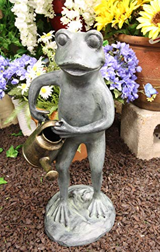 "Ebros Gift 19"" Tall Aluminum Metal Green Thumb Whimsical Gardening Frog"