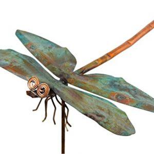 Modern Artisans American Made Copper Dragonfly Garden Sculpture & Stake