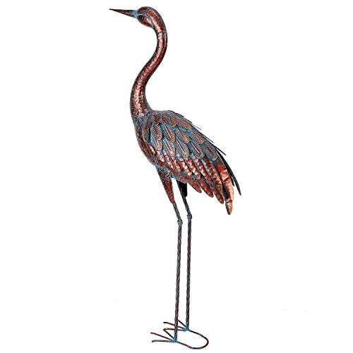Chisheen Outdoor Garden Crane Statues and Sculptures Metal Yard