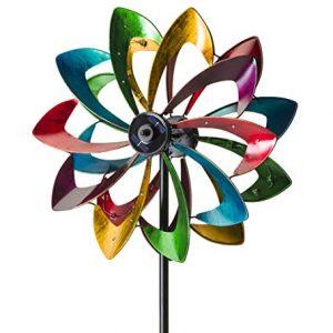 Outdoor Solar LED Metal Flower Garden Wind Spinner Sculpture