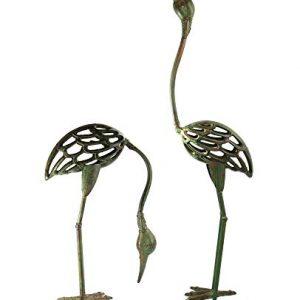 Seraphic Cast Iron Garden Statue Crane Bird Pair