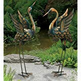 CHSGJY Large Copper Patina Flying Crane Pair Sculpture Heron Bird Yard