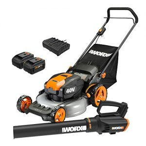 WORX 20-inch Cordless Lawn Mower and Power Share Cordless Turbine Blower