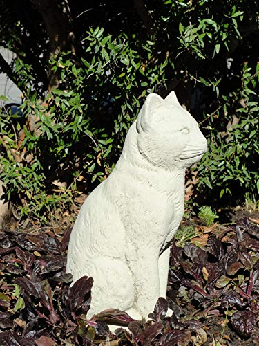 Vintage Sitting Cat: Solid Stone Home or Garden Statue. Sealed for Outdoor Use