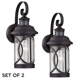Capistrano Mission Outdoor Wall Light Fixtures Set of 2 Black
