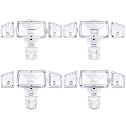 4 Pack 3 Head LED Security Lights Motion Outdoor Motion Sensor Light