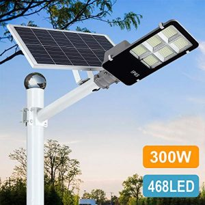 300W LED Solar Street Lights Outdoor, Dusk to Dawn Security Flood Light