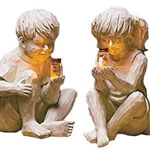 Garden Children Solar Lighted Firefly Jar Boy Girl Statue