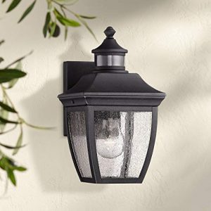 """Beaufort Outdoor Wall Light Fixture Black 12"""" Clear Seedy Glass Motion Security"""
