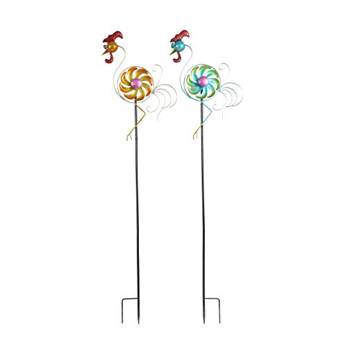 Topadorn Wind Spinner Sculpture Garden Stake Outdoor Cute Metal Stick