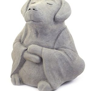 Modern Artisans Meditating Dog - Cast Stone Garden Sculpture