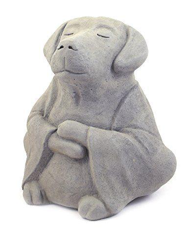 Modern Artisans Meditating Dog - Cast Stone Garden Sculpture