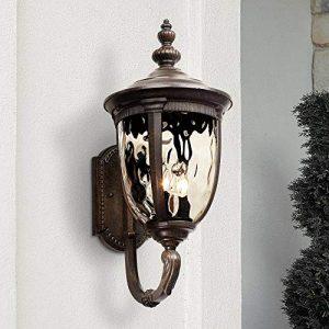 "Bellagio Outdoor Wall Light Fixture Bronze 21"" Hammered Glass Sconce"
