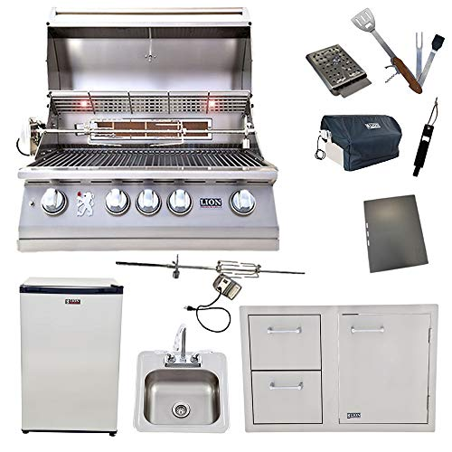 Lion 32-Inch Natural Gas Grill with Refrigerator and Door and Drawer Combo