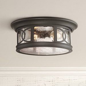 "Capistrano Outdoor Ceiling Light Fixture Black 12"" Seedy Glass"