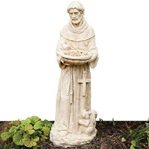 Bits and Pieces Garden Décor-Durable Polyresin St. Francis Bird Feeder Statue