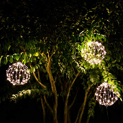 "Elf Logic - Outdoor LED 12"" Light Balls (3 Pack) Hanging Tree Globe Light"