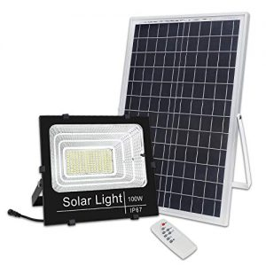 Brillihood 100W LED Solar Panel Security Light, 5,000 Lumens