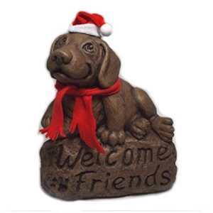 Beagle with 'Welcome Friends' Sign with Holiday Hat and Scarf