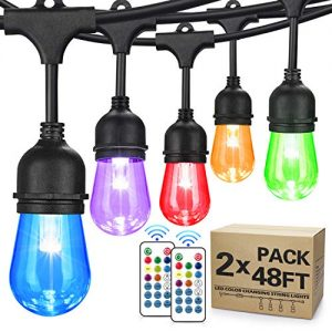 2-Pack 48FT Color Changing Outdoor String Lights