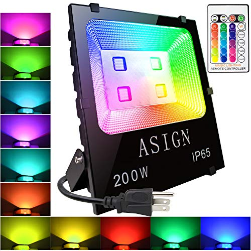 ASIGN 200W RGB LED Flood Lights, Christmas Decoration Light Waterproof