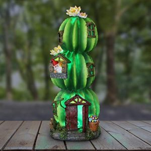 Exhart Three Stacked Resin Cactus House w/Gnome