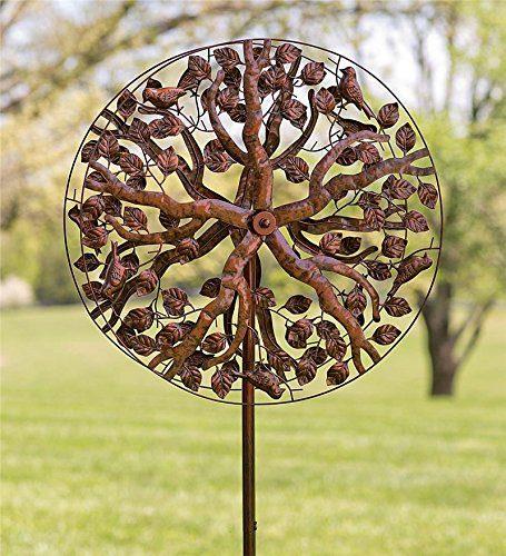 Outdoor Tree of Life Metal Garden Wind Spinner Kinetic Sculpture