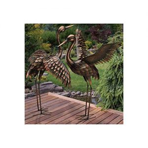 CHSGJY Large Bronze Patina Flying Crane Pair Sculpture Heron Bird