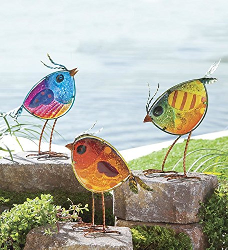 Wind and Weather Colorful Glass Bird Statues