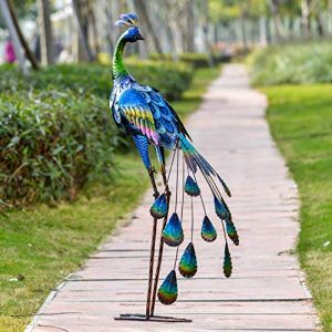 TERESA'S COLLECTIONS 35inch Metal Decorative Peacock Standing Art
