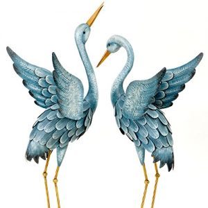 Bits and Pieces - Japanese Blue Heron Metal Garden Sculpture Set