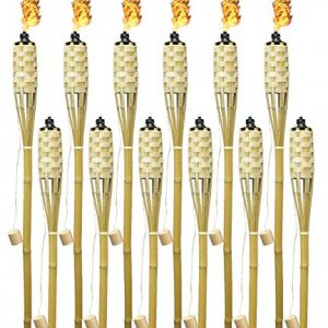 Matney Bamboo Torches - Includes Metal Oil Canisters with Covers to Extinguish