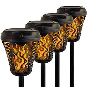 JARDLITE Solar Torch Lights with Bigger Panel, Garden Flickering Flame Tiki Torches