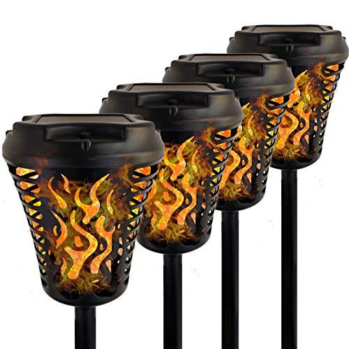 JARDLITE Solar Torch Lights with Bigger Panel, Garden Flickering Flame Tiki Torches