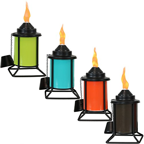 Sunnydaze Metal Tabletop Torches, Outdoor Patio and Lawn Citronella Torch